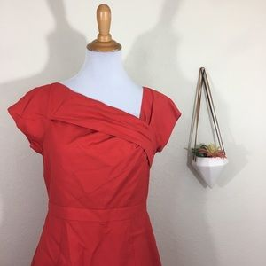 J. Crew red suiting asymmetrical dress